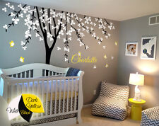 Personalized baby name tree wall decals Butterflies stickers wall mural KR033