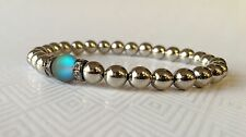 Stainless Steel Beaded Bracelet Gray Glass Opalescent Bead One Size NEW