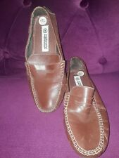 LAMBRETTA MED BROWN LEATHER LOAFER SHOES SIZE 7 EU 41