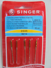 SINGER 2045 90/14 SEWING MACHINE NEEDLES PACK of 5 FOR KNIT FABRICS FREE P/P