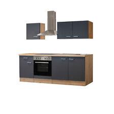 Küchenzeile Küchenblock Einbauküche Elektro-Geräte 210 cm grau matt beige