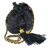 Auth CHANEL Quilted Fringe Drawstring Chain Shoulder Bag Navy Leather YG01112