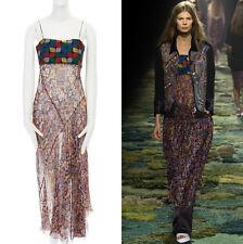 runway DRIES VAN NOTEN SS15 geometric crop top pixelated print chiffon dress S