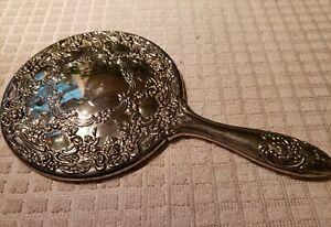 Vintage Silver Plate Victorian Handheld Mirror