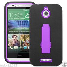 HTC Desire 510 Hybrid Defender Armor Case w/Stand Skin Cover Black Purple