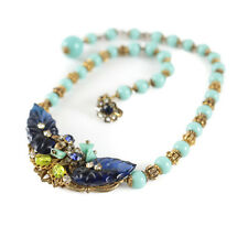"Miriam Haskell Beaded Necklace Signed 15"" - c1950. Gold toned setting aqua beads"