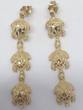 14K Gold 3 Sea Turtle Dangle Earrings Beautiful Diamond Cut 1.5 Inch NEW RARE