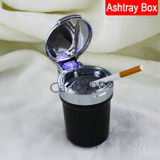 Blue LED Light Steel Car 3-in-1 Removable Cigarette Ashtray Bin Box Storage Can