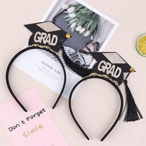2pcs Graduation Hat Mini Tassel Hat Headband Chic Hair Hoops Stylish Headdre_kz