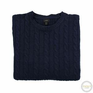 J. Crew Navy Blue Wool Cable Knit thick Piped Crew Neck Sweater Medium