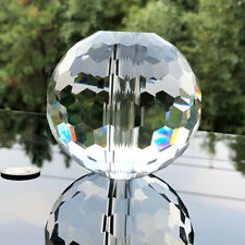 100MM Clear Glass Faceted Bead Crystal Ball Feng Shui Middle Hole Suncatcher DIY
