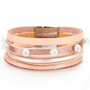 Women Pearl Bracelet Charms Wrap Bracelets Faux Leather Bangle Fashion Bangles