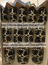 CRACKED NAILS Pre-Glued/Press-On Painted Nails~ CRACKLE BEIGE/BLACK 12pc Set