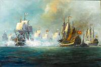 "Dream-art oil painting seascape big sail boats The Battle of Trafalgar OCEAN 36"""