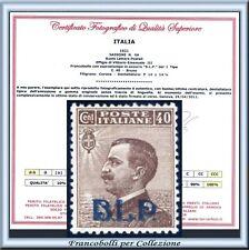 1921 Regno B.L.P. n. 4A Certificado BLP FARE OFRECE