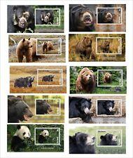 BEARS  PANDA POLAR BEAR GRIZZLY 10 BLOCKS MNH UNPERFORATED