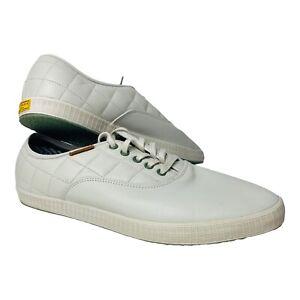 Men's TED BAKER Leather sneakers size UK11 US12 EU45 diamond stitch bone as new
