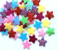 25 Glitter Felt Star Embellishments Mixed Colours Craft Applique Cardmaking 20mm
