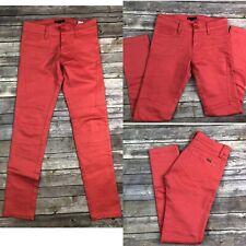 $140 Sisley Women's Coral Pink Stretchy Slim Skinny Moto Jeans Anthropologie 8 4