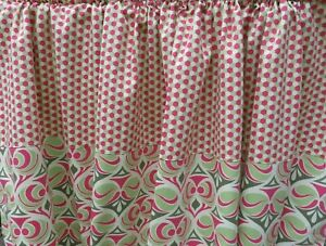 """Vintage Pair of MCM Inspired Curtain Rod Panels in Lime Green & Pink 54"""" x 53"""""""