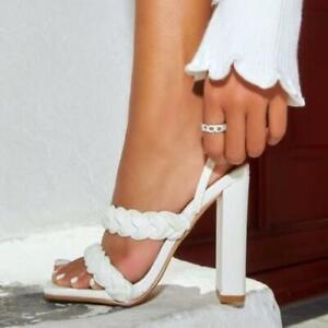 Womens Trendy Summer Peep Toe Weave Sandals Pumps High Heels Beach Shoes Size