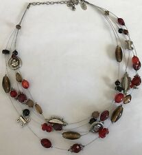 Lia Sophia Necklace Reds & Browns Gold Silver Beads On Wire