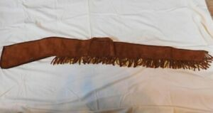 "Vintage KOLPIN Suede Leather Fringed Long Gun Case Sheath, Heavyweight, 59"""