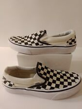 VANS Slip On White/Black Checkered Canvas Low Top Shoes Mens Size 5.5  Women's 7