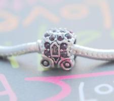 HANDMADE SILVER EUROPEAN Charm Bead for Bracelet PRINCESS CARRIAGE CAR H6 PURPLE