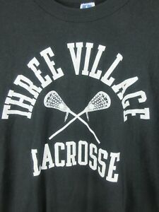 Three village Lacrosse Mens T Shirt Size L Vintage Russell Athletic Tee Green