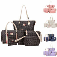 NEW 6Pcs Women Shoulder Bag Leather PURSE Tote Handbag Bags Wallet P u