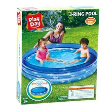 Play Day 3-Ring Inflatable Play Kids Swimming Pool, Blue Robot Sharks