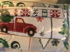 New King Size Christmas Holiday Patchwork Style Flannel Sheets Set