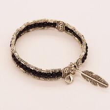 New Women Vintage Boho Jewelry Feather Turquoise Bangle Bohemian Gypsy Bracelet