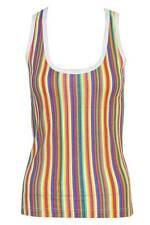 Crew Neck Striped Sleeveless Tops & Shirts for Women