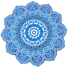 Fascinating Cut work Blue Hued Roundie Hippie Round Throw Tapestry