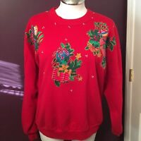 Ugly Christmas Sweater Party Sweatshirt Womens Plus Size 2X Jerzees Red