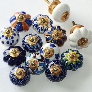 Möbelknopf Möbelgriff Möbelknöpfe Keramik Möbelknäufe Griffe  Dunkel Blau Weiß