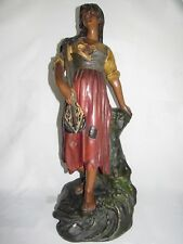 09E1 ANCIENNE STATUE PLÂTRE POLYCHROME MIGNON FEMME A LA MANDOLINE ART NOUVEAU