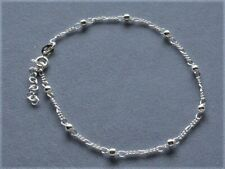 """Sterling Silver Ankle Bracelet Italy 925 Figaro With Beads Adjustable 9"""" to 10"""""""