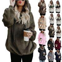 Plus Size Womens Long Sleeve Hoodie Sweatshirt Jumper Warm Sweater Pullover Tops