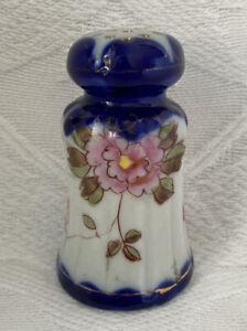 Antique Vintage SALT Pepper SHAKER Cobalt FLOW BLUE Hand Painted