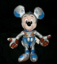 "9"" VINTAGE TOMMOROWLAND MICKEY MOUSE DISNEY STUFFED ANIMAL PLUSH TOY BLUE SILVER"