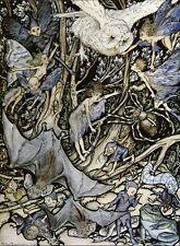 ARTHUR RACKHAM WOOD OWL FAIRY SPIDER SNAIL BAT FAIRYTALE GOBLIN MOUNTED PRINT