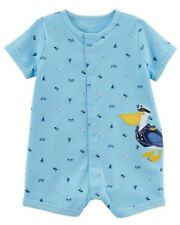 "Carter's Boy ~ ""Pelican"" Snap Up Short Sleeve 100% Cotton Romper ~ 3M ~New w/tag"