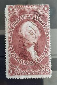 1862-71 $2.50 U.S Revenue Inland Exchange Stamp  #R84c Used Hinged