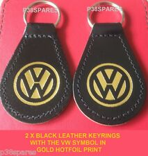 2 Negro Cuero Real Llavero Vw Jetta Golf Beetle Passat Fox Up Polo Scirocco
