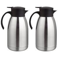 2er Set Thermoskanne 2 Liter Isolierkanne Edelstahl Einhandautomatik Kaffeekanne