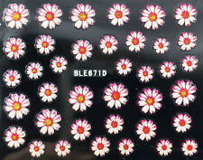 Nail Art 3D Decal Stickers Pretty Daisy Flowers White & Pink BLE671D