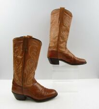 Ladies Morgan Brown Lizard Leather Cowboy Western Boots Size: 6 M